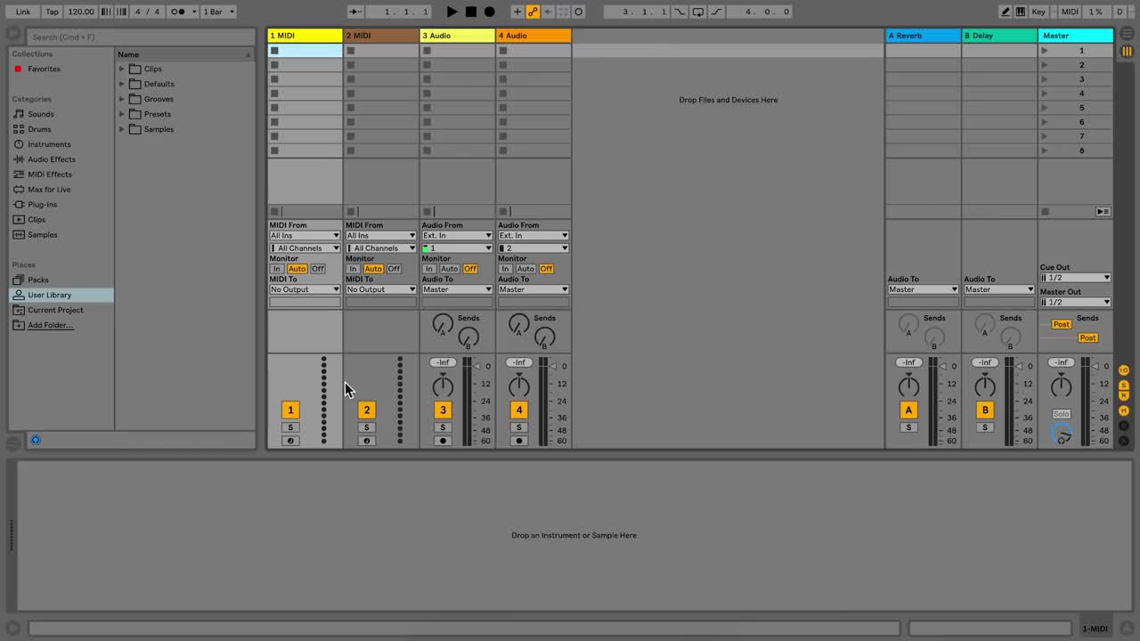 Ableton Learn Live 10: Using defaults